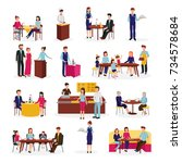 people in restaurant flat icons ... | Shutterstock . vector #734578684