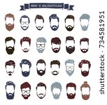 set of men hairstyles with... | Shutterstock .eps vector #734581951