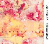 watercolor flowers seamless... | Shutterstock . vector #734583454