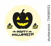 happy halloween vector | Shutterstock .eps vector #734585521