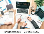 business team at work  they are ... | Shutterstock . vector #734587657