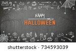 happy halloween holiday... | Shutterstock . vector #734593039