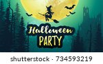 vector stock halloween party... | Shutterstock .eps vector #734593219