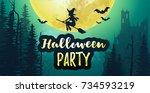 vector stock halloween party...   Shutterstock .eps vector #734593219