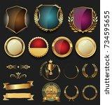 golden shields and laurel... | Shutterstock .eps vector #734595655