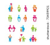 set of icons   kids and parents | Shutterstock . vector #73459921