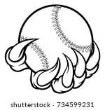 a monster or animal claw... | Shutterstock .eps vector #734599231
