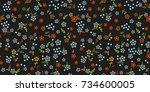 seamless floral texture. cute... | Shutterstock .eps vector #734600005