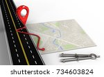 3d illustration of bright map... | Shutterstock . vector #734603824