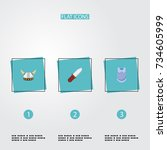 flat icons bulletproof  weapon  ...   Shutterstock .eps vector #734605999