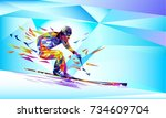 the polygonal colourful... | Shutterstock .eps vector #734609704
