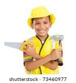 Happy Little Boy In Builder's...