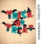 trick or treat typo poster... | Shutterstock .eps vector #734611975