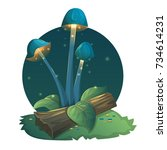 fantasy mushrooms with light ... | Shutterstock .eps vector #734614231