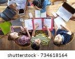 top view of multiethnic diverse ... | Shutterstock . vector #734618164
