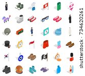 vogue icons set. isometric... | Shutterstock .eps vector #734620261