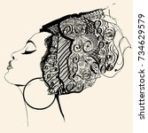 portrait of cute african woman... | Shutterstock .eps vector #734629579