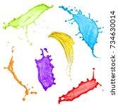 collection of flying liquid... | Shutterstock . vector #734630014
