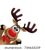 vector xmas drawing of funny... | Shutterstock .eps vector #734633239