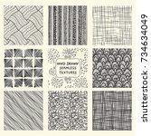 set of nine seamless hand drawn ...   Shutterstock .eps vector #734634049