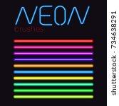 vector brush set  colored eps... | Shutterstock .eps vector #734638291