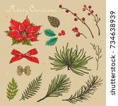 christmas collection of floral... | Shutterstock .eps vector #734638939