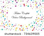festive colorful star confetti... | Shutterstock .eps vector #734639005