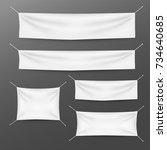 white textile banners with... | Shutterstock .eps vector #734640685