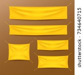 yellow textile banners with... | Shutterstock .eps vector #734640715