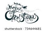 merry christmas and santa... | Shutterstock .eps vector #734644681