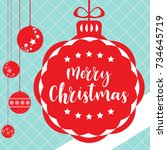 template christmas card  for... | Shutterstock .eps vector #734645719