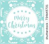 template christmas card  for... | Shutterstock .eps vector #734645731
