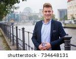 portrait of handsome blond man... | Shutterstock . vector #734648131