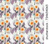 romantic floral seamless... | Shutterstock . vector #734654065