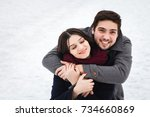 young beautiful enamored couple ... | Shutterstock . vector #734660869