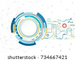 abstract technological... | Shutterstock .eps vector #734667421