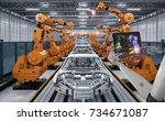 3d rendering cyborg control... | Shutterstock . vector #734671087