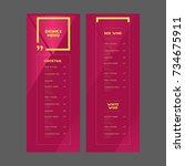 drinks menu. cocktail. white... | Shutterstock .eps vector #734675911