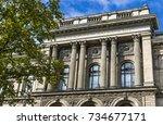 facade of berlin museum of... | Shutterstock . vector #734677171