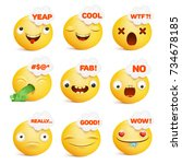 set of yellow smiley face... | Shutterstock .eps vector #734678185