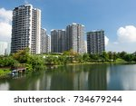 lanscape view of residential... | Shutterstock . vector #734679244