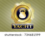 shiny badge with kettlebell... | Shutterstock .eps vector #734681599