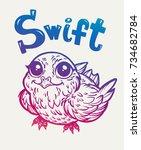 bird swift. print  cards ...   Shutterstock .eps vector #734682784