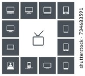 set of 13 editable gadget icons.... | Shutterstock .eps vector #734683591