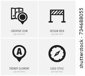 set of 4 editable map icons....