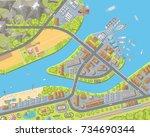 vector illustration. landscape... | Shutterstock .eps vector #734690344