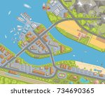 vector illustration. landscape... | Shutterstock .eps vector #734690365