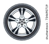 vector car tire and alloy wheel ... | Shutterstock .eps vector #734690719