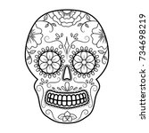 day of the dead colorful skull... | Shutterstock . vector #734698219