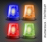 realistic flasher siren set...   Shutterstock .eps vector #734700169